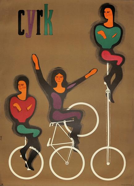 Oryginalny polski plakat cyrkowy z przedstawieniem cyklistów na bicyklach i monocyklach. Projekt: MACIEJ HIBNER