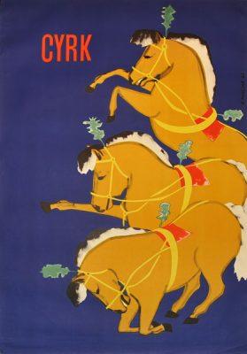 Oryginalny polski plakat cyrkowy przedstawiający trzy konie kłaniające się w układzie kaskadowym. Projekt: BOLESŁAW PENCIAK