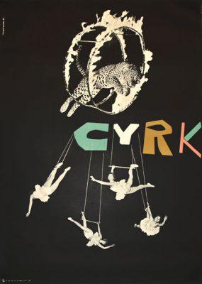 Oryginalny polski plakat cyrkowy z lwem skaczącym przez płonącą obręcz i baletnicami. Projekt: HENRYK TOMASZEWSKI