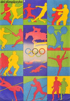Plakat sportowy reklamujący dni olimpijczyka w 1978 roku. Projekt: SŁAWOMIR LEWCZUK