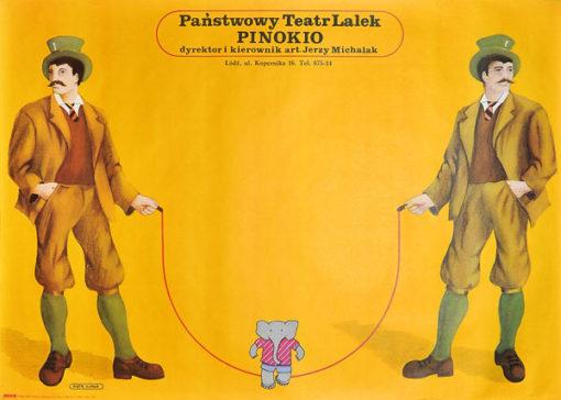 Plakat reklamujący Państwowy Teatr Lalek Pinokio w Łodzi. Projekt: PIOTR KUNCE