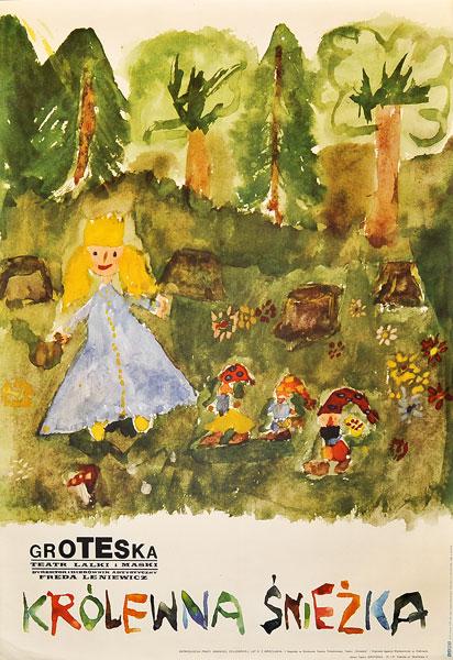 """Oryginalny polski plakat teatralny do sztuki """"Królewna Śnieżka"""". Projekt plakatu: LESZEK JESIONKOWSKI"""
