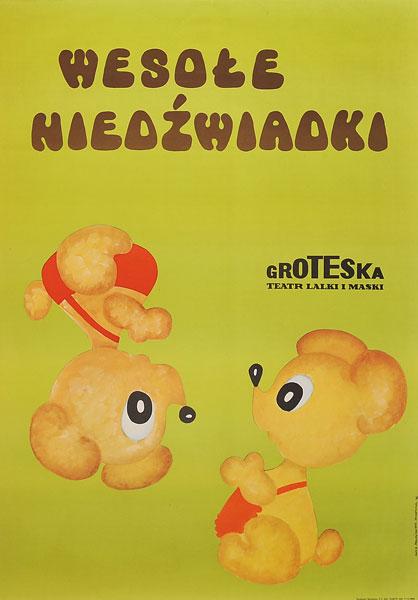 """Oryginalny polski plakat teatralny z 1976 r. do sztuki """"Wesołe niedźwiadki"""" w Teatrze Groteska w Krakowie. Projekt: ANNA MALINOWSKA-STARZYCKA"""