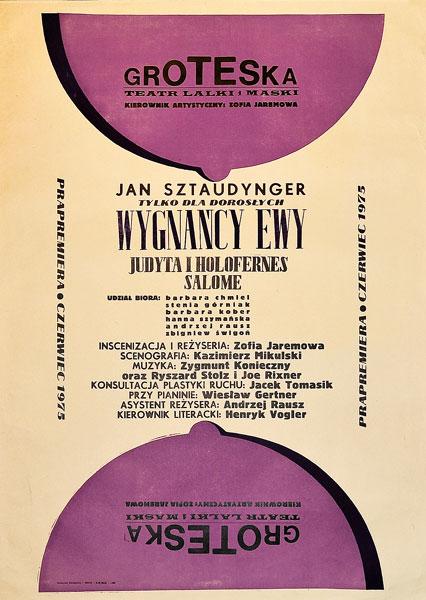 """Plakat teatralny do sztuki """"Wygnańcy Ewy"""" w teatrze Groteska w Krakowie w 1975"""