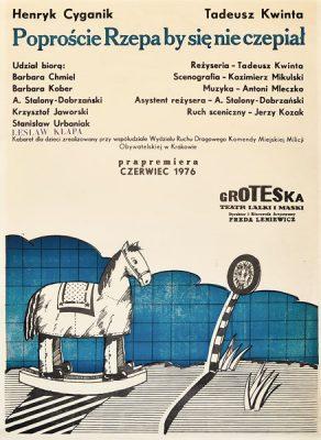 """Plakat teatralny do sztuki dla dzieci """"Poproście Rzepa by sie nie czepiał"""" w teatrze Groteska w Krakowie w 1976. Projekt plakatu: KAZIMIERZ MIKULSKI"""