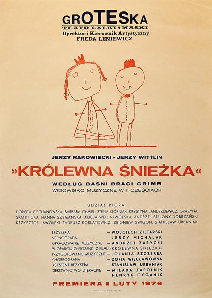 """Plakat teatralny do sztuki Dla dzieci """"Królewna Śnieżka"""" wystawianej w teatrze Groteska w Krakowie. Projekt niesygnowany"""