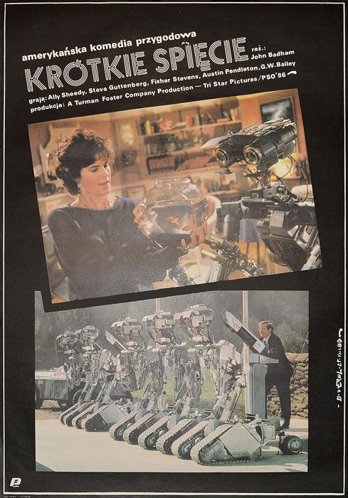 """Oryginalny polski plakat filmowy do amerykańskiego filmu """"Krótkie spięcie"""". Reżyseria: John Badham. Projekt: JAKUB EROL"""