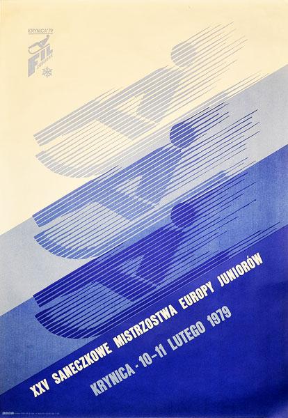 Oryginalny polski plakat sportowy promujący XXV Saneczkowe Mistrzostwa Europy Juniorów. Plakat niesygnowany