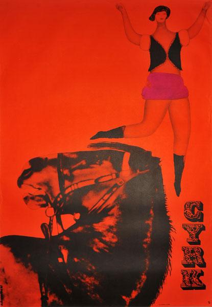 Oryginalny polski plakat cyrkowy przedstawiający tancerkę z koniem. Projekt plakatu: DANUTA ŻUKOWSKA