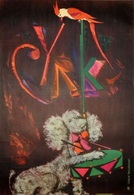 Oryginalny polski plakat cyrkowy przedstawiający psa i papugę. Projekt plakatu: LILIANA BACZEWSKA
