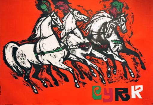 Oryginalny polski plakat cyrkowy przedstawiający konie w zaprzęgu. Projekt plakatu: TADEUSZ JODŁOWSKI