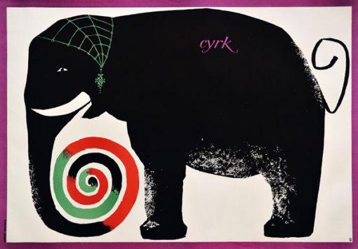 Oryginalny polski plakat cyrkowy przedstawiający słonia z kolorową trąbą. Projekt plakatu: HUBERT HILSCHER