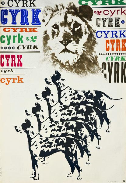 Oryginalny polski plakat cyrkowy przedstawiający psy oraz lwa. Projekt plakatu: BRONISŁAW ZELEK