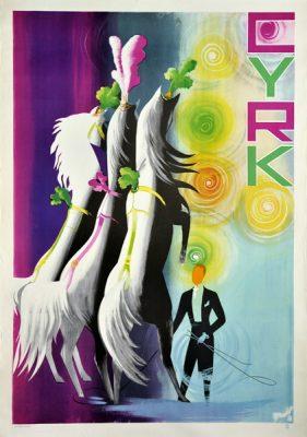 Oryginalny polski plakat cyrkowy przedstawiający tresera z końmi. Projekt plakatu: TADEUSZ GRONOWSKI