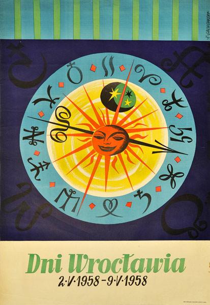"""Oryginalny polski plakat okolicznościowy """"Dni Wrocławia (2-V-1958 – 9-V-1958)"""". Projekt plakatu: R. GACHOWSKI"""