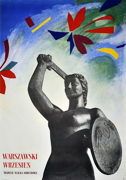 """Oryginalny polski plakat """"Warszawski wrzesień 1962. Tradycje-Walka-Odbudowa"""". Projekt: ZENON JANUSZEWSKI"""