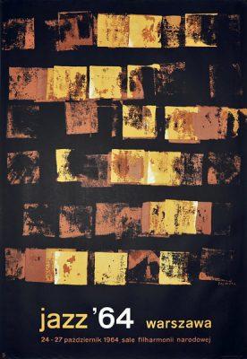 Oryginalny plakat jazzowy reklamujący festiwal: Jazz '64 Warszawa. Projekt: WALDEMAR ŚWIERZY