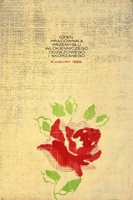 Oryginalny plakat reklamujący Dzień Pracownika Przemysłu Włókienniczego