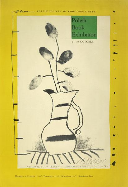 Oryginalny polski plakat reklamujący Wystawę Książki Polskiej w Londynie