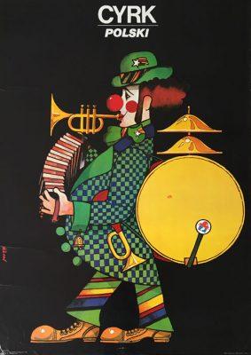 """Oryginalny polski plakat cyrkowy """"Cyrk polski"""" przedstawiający klauna-orkiestrę. Projekt plakatu: MACIEJ HIBNER"""