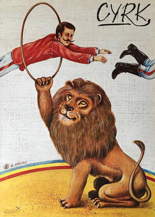 Oryginalny polski plakat cyrkowy przedstawiający lwa jako tresera i tresera skaczącego przez obręcz. Projekt plakatu: RAFAŁ OLBIŃSKI