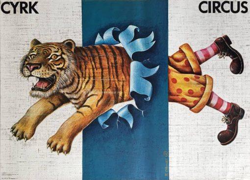 Oryginalny polski plakat cyrkowy przedstawiający pół klauna i pół tygrysa. Projekt plakatu: RAFAŁ OLBIŃSKI