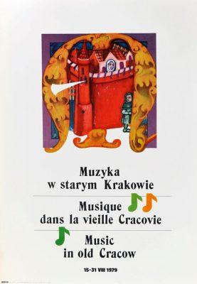 Oryginalny polski plakat reklamujący wydarzenie: Muzyka w starym Krakowie 15-31 VIII 1979. Projekt plakatu: BOHDAN PRĄDZYŃSKI