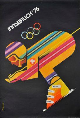 """Oryginalny polski plakat sportowy reklamujący olimpiadę zimową w Innsbrucku w 1976 roku:  """"Innsbruck '76"""". Projekt plakatu: F. WINIARSKI"""