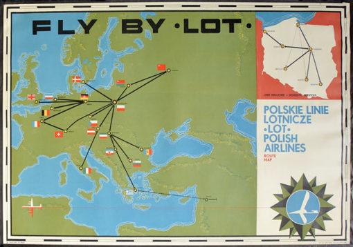 """Oryginalny polski plakat reklamujący PLL LOT """"Polskie Linie Lotnicze LOT"""