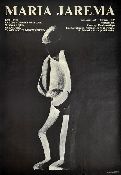 Oryginalny polski plakat wystawowy do wystawy prac Marii Jaremy. Projekt plakatu Jan Heidrich