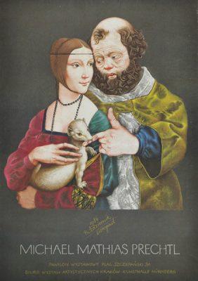 Oryginalny polski plakat wystawowy do wystawy prac Michaela Mathiasa Prechtla. Projekt niesygnowany