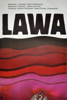 """Plakat filmowy do polskiego filmu """"Lawa"""". Reżyseria: Tadeusz Konwicki. Projekt: JAN LENICA"""