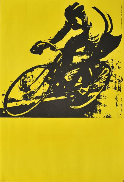 Oryginalny polski plakat sportowy popularyzujący kolarstwo. Projekt: MARIA IHNATOWICZ MUCHA