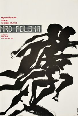 Oryginalny polski plakat sportowy reklamujący Międzypaństwowe Zawody w Lekkiej Atletyce NRD-POLSKA. Projekt: MACIEJ URBANIEC