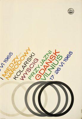 Oryginalny polski plakat sportowy reklamujący I Międzynarodowy Kolarski Wyścig Przyjaźni – Gdańsk - Vilnius. Projekt: MAREK FREUDENREICH