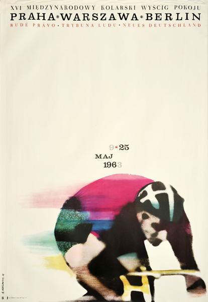 Oryginalny polski plakat sportowy reklamujący XVI Międzynarodowy Kolarski Wyścig Pokoju Praha-Warszawa-Berlin w dniach 9-25.05.1963. Projekt: Roman Cieślewicz