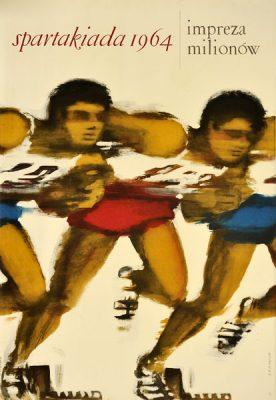 Oryginalny polski plakat sportowy reklamujący Spartakiadę w 1964 roku. Projekt: MACIEJ URBANIEC