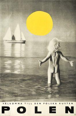 Oryginalny polski plakat turystyczny reklamujący polskie wybrzeże. Projekt: ZBIGNIEW KAJA