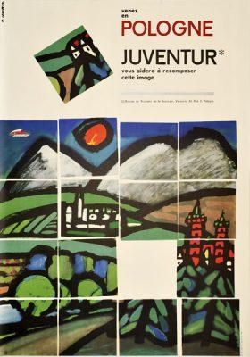Oryginalny polski plakat turystyczny reklamujący wycieczki do Polski z biurem podróży Juventur. Projekt: WITOLD JANOWSKI