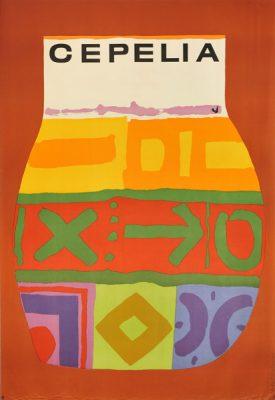 Oryginalny polski plakat reklamujący Cepelię (Centrala Przemysłu Ludowego i Artystycznego). Projekt: JAN MŁODOŻENIEC