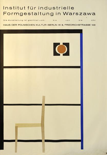 Oryginalny polski plakat wystawowy Instytutu Wzornictwa Przemysłowego w Warszawie. Projekt plakatu HENRYK TOMASZEWSKI