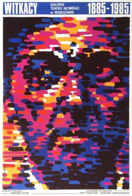 """Oryginalny polski plakat wystawowy Galerii Teatru Nowego w Warszawie: """"Witkacy 1885-1985"""". Projekt plakatu: WALDEMAR ŚWIERZY"""