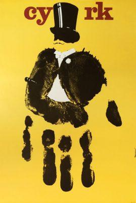 Oryginalny polski plakat cyrkowy przedstawiający rękę tworząca postać mężczyzny w cylindrze i fraku. Projekt plakatu: ANDRZEJ PĄGOWSKI