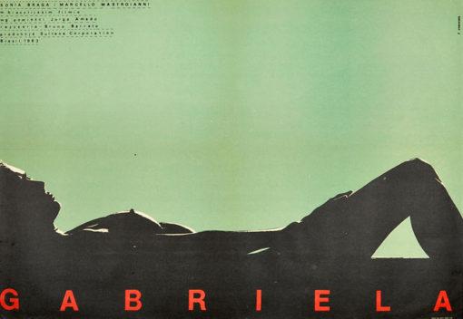 """Oryginalny polski plakat filmowy do filmu brazylijskiego """"Gabriela"""". Reżyseria: Bruno Barreto. Projekt plakatu: EUGENIUSZ SKORWIDER"""