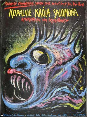 """Oryginalny polski plakat filmowy do filmu amerykańskiego """"Kopalnie króla Salomona"""". Reżyseria: J. Lee Thompson. Projekt plakatu: JAKUB EROL"""