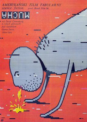 """Oryginalny polski plakat filmowy do filmu amerykańskiego """"Mucha"""". Reżyseria: David Cronenberg. Projekt plakatu: EUGENIUSZ SKORWIDER"""