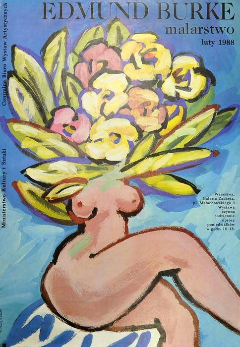 Oryginalny polski plakat wystawowy wydany z okazji wystawy Edmunda Burke w 1988 r. w warszawskiej Zachęcie. Projekt plakatu: TADEUSZ JODŁOWSKI