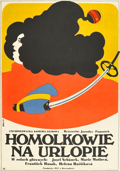 """Oryginalny polski plakat filmowy do filmu czeskiego """"Homolkowie na urlopie"""""""
