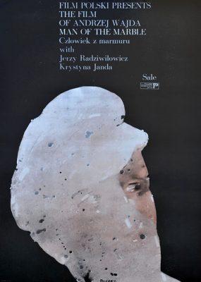 """Oryginalny polski plakat filmowy do filmu polskiego """"Man of the marble - Człowiek z marmuru"""""""