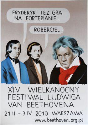 """Oryginalny polski plakat festiwalowy do wydarzenia: """"14 Wielkanocny Festiwal Ludwika van Beethovena 21 marca – 3 kwietnia 2010"""". Projekt plakatu: ROBERT MACIEJOWSKI"""